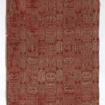 Textile Fragment with Poetic Scenes and Verses, 17th century, Double cloth (two plain weaves); in red and white silk with silver metallic thread, Yale University Art Gallery