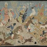 Tapestry of a Hunting Scene, Silk tapestry, mid–16th century, Iran, Yale University Art Gallery