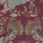 After Riza Abbasi, Textile Fragment Depicting a Youth Drinking, early 17th century, compound cloth,  Safavid, Yale University Art Gallery'