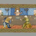 Embroidered panel in satin of Last Supper, Iranian, Armenian, c. 17th century, Yale University Art Gallery